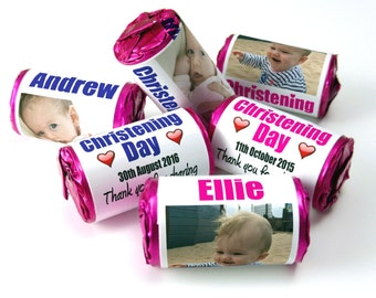 Personalised Love Heart Sweets, Christening Day, Favours ( Select from 10 to 100 Rolls)