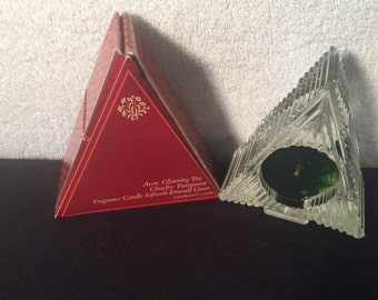 Vintage Avon Glistening Tree Clearfire Transparent Fragrance Candle Green