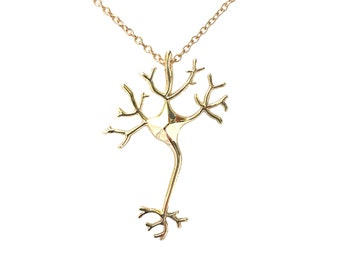 Nerve Cell Science Necklace - Gold Plated