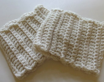 Crochet Boot Cuffs With Scallops in Cream Ready to Ship