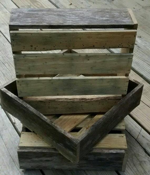 "Rustic Reclaimed Wood Crate, 12"" x 12"" x 4"" planter box, wood box, wall shelf, repurposed wood box, wood storage box, decorative box"
