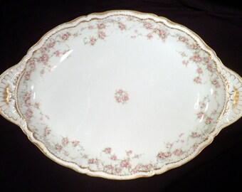 """Theodore Haviland Limoges Schleiger #340  Pink Roses 18 1/2"""" Serving Platter, Antique Porcelain"""