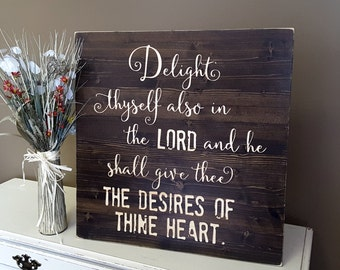 "Delight thyself in the Lord, Distressed Wood Christian Wall Art. Large 24x 24"". Psalms 37:4  BEAUTIFULLY CARVED"