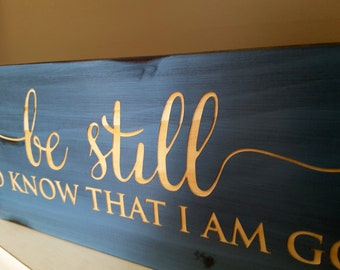 Be Still and Know Sign, Distressed Wood Wall Art. Perfect wall art for your home! Psalm 46:10. BEAUTIFULLY CARVED