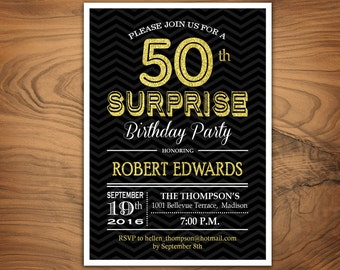 Black Gold 50th Birthday Invitation 30th 40th By Fridayfactory