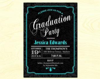 Graduation Party Invitation / Graduation Invite / Blue Black / Aqua Blue / Turquoise / Damask / Printable Digital Invite / DIY
