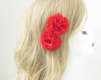 2 x Red Carnation Flower Hair Clips Rockabilly 1950s Pin Up Grips 1940s Boho 156