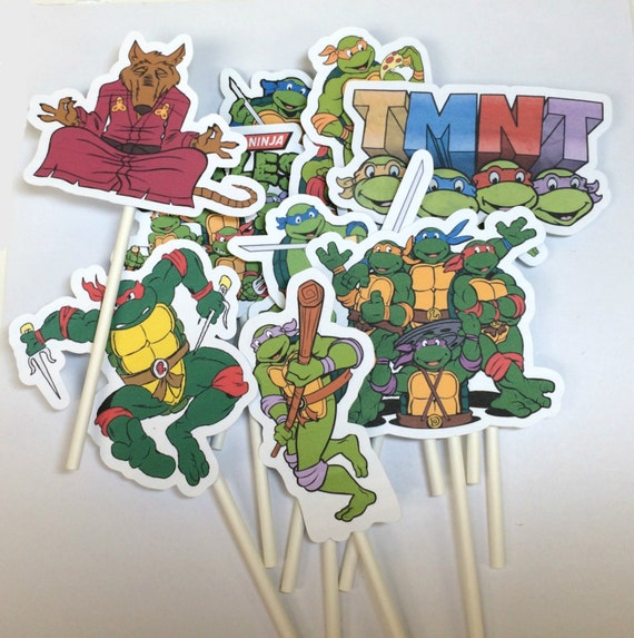 Cupcake Toppers - Teenage Mutant Ninja Turtles, TMNT, Cowabunga Dude, Children's Party, Birthday Cupcake Toppers, Party Picks, TMNT Party