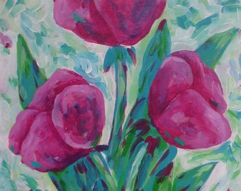 Original Acrylic Painting Tulips
