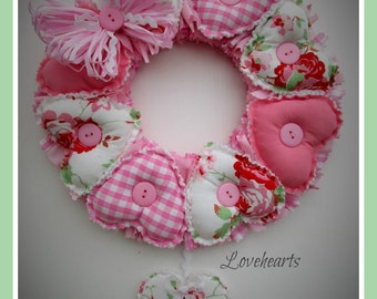 "Wreath with Cath Kidston Ikea Rosali fabric.Pretty in Pinks,wooden heart hanging.12"" approx in size.Flower fabric."