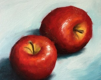Red Apples on blue Original Oil Painting still life by Jane Palmer