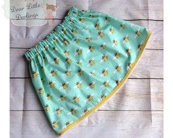 Girls Skirt, Elasticated Waist, Bumble Bee Print Skirt