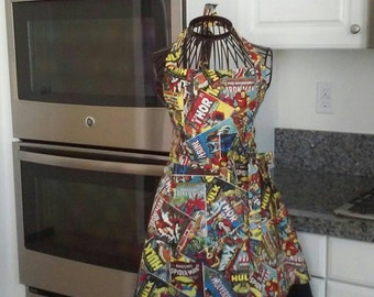 Women's Marvel comic apron!  ready to ship in medium