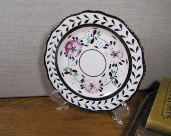 Louis XV - Bread and Butter Plate - Pale Pink Flowers - Dark Copper Colored Accents
