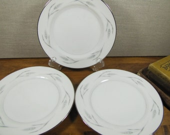 Royal Cameo Fine China Bread and Butter Plates - Silver Wheat 1301 Pattern - Set of Three (3)