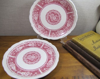 Syracuse China - Red Transferware - Floral Band - Restaurant Ware- Dessert Plate