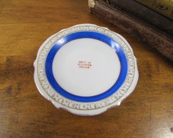Small Plate - Butter Pat - Gold Accent - Blue Band - Made In Occupied Japan