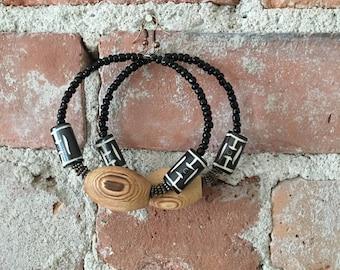 Beaded wood earrings