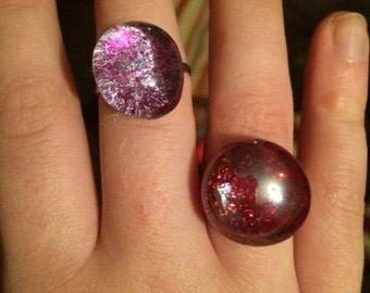 Painted Glass Rings