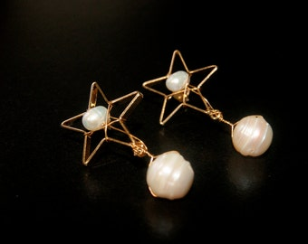 Handmade gold plated Star wired earrings