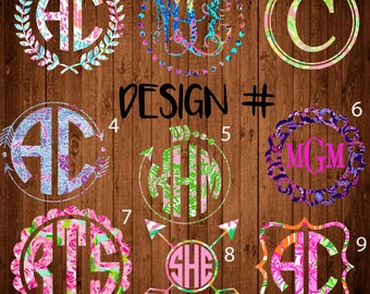 Lilly Pulitzer Monogram, Lilly Pulitzer, Monogram decal, Monogram sticker, circle monogram,yeti monogram decal, laptop decal, car decal