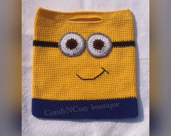 Crochet Minion inspired trick or treat Halloween candy bag