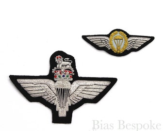 Bullion Wire Embroidered Badge: Parachute Regiment Wings in Two Styles
