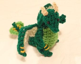 "Crochet Forest Dragon Green Plush ""Fernidon"""