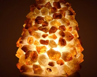 "6.2"" Citrine Crystal Cluster Lamp Druzy Gemstone Quartz Mineral Stone on Wood Base w/ Cord and LED Bulb (STLCC-VV1+STCB+lvd)"