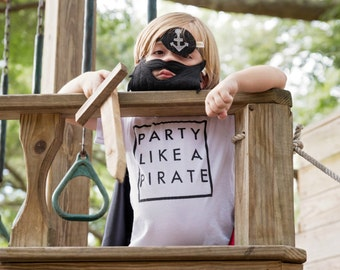 party like a pirate tee, kids clothing, boy girl youth shirt, trendy kids, hipster kids, pirates, birthday party shirt,