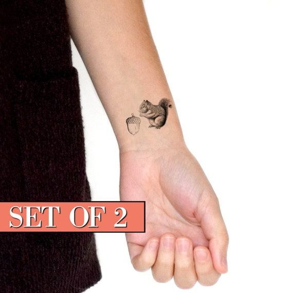 Squirrel and nut temporary tattoo / stocking stuffer / acorn temporary ...