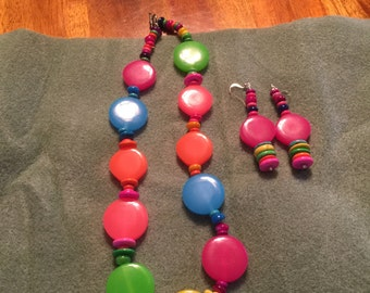 Handmade Multicolor necklace with matching earrings
