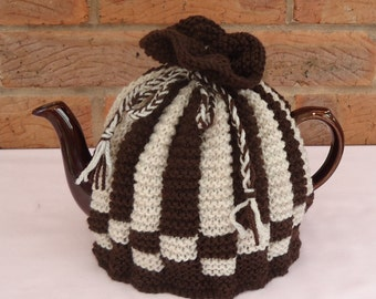 Hand Knitted Tea Pot Cover ( Brown and Beige  )