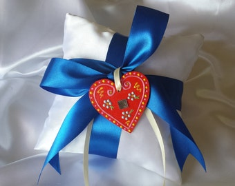 Croatian Licitar Heart Ring Bearer Pillow, Choose the Color of the Ribbon
