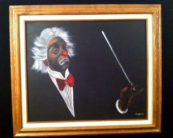 Framed OIL PAINTING CLOWN Maestro Classical Conductor Signed Jesion Vintage Figural
