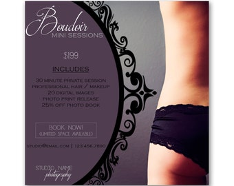 INSTANT DOWNLOAD - Boudoir Mini Session Marketing Template - Photoshop Template (id017)