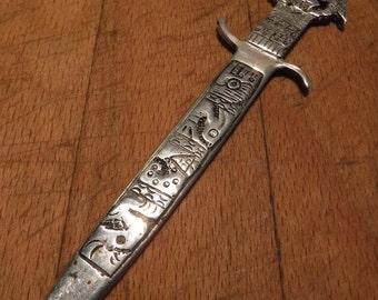 vintage heavy peruvien inca sterling silver letter opener sterling sword letter opener heavy 313 grams 55 long peruana handmade silver