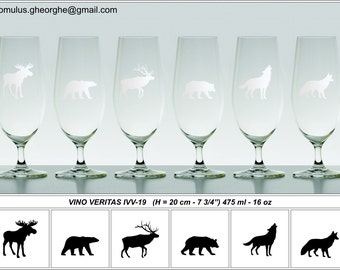 Engraved Beer Glass - Set of One - Wild Animals