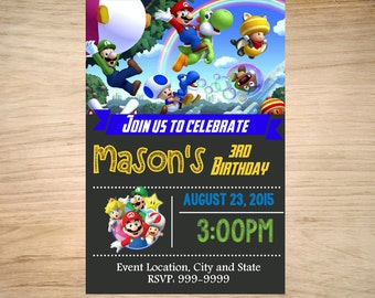 Super Mario Brothers Invitation - Super Mario Brothers Invite - Super Mario Brothers Birthday Invitation - Mario Brothers Birthday Party