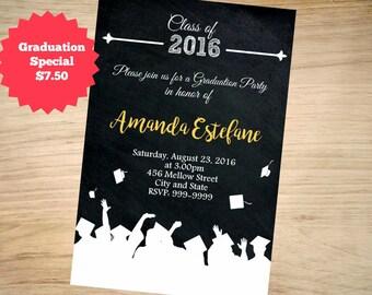 Graduation Invitation, Grad Invite, Graduation Invite, Class of, High School Graduation Invitation, College Graduation Invitation, Grad