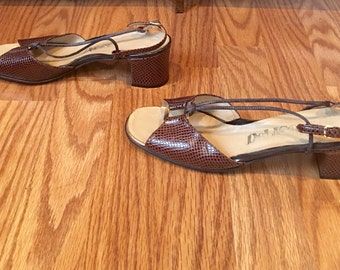 Vtg 50s leather reptile sandals free shipping