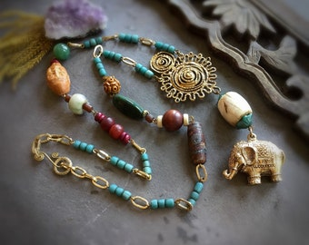 Golden Elephant Eastern Tribal Assemblage Necklace