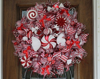 Candy Cane/Peppermint Christmas Wreath