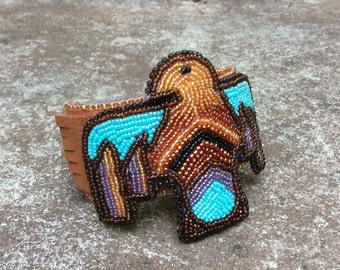 Native American Inspired Statement Cuff - Eagle Spirit Bead Embroidery  -  Eagle Spirit Guide - Jewelry Art - Unique Gift For Her