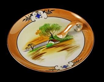 Noritake Lemon Dish, Lusterware, With Handle, Hand Painted House and Tree Design, Lemon Tray