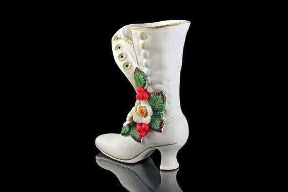 White Porcelain Christmas Boot, Christmas Rose and Holly Berries, Christmas Decoration, Decorative Vase, Victorian Boot