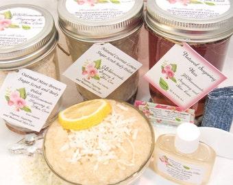 Sugaring Hair Removal Set, Oatmeal Scrub, Coconut Lemon Sugar Scrub - thinner hair, Body Sugaring, natural sugaring, natural sugar scrub