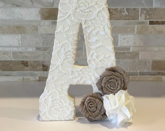 "Lace letter - wedding decor - Free standing letter - lace - vintage wedding -  7.75"" letters distressed with lace smd flowers"