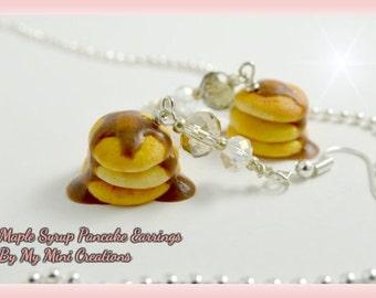 Maple Syrup Pancake Earrings, Polymer Clay, Miniature Food, Miniature Food Jewelry