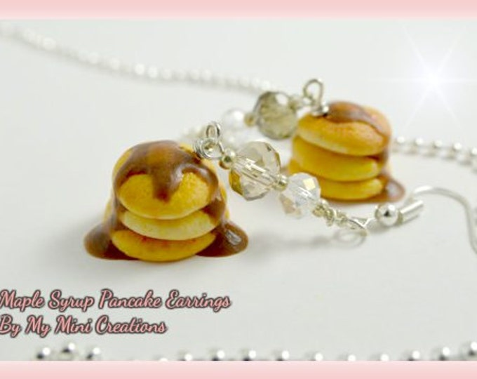 Maple Syrup Pancake Earrings, Polymer Clay, Miniature Food, Miniature Food Jewelry